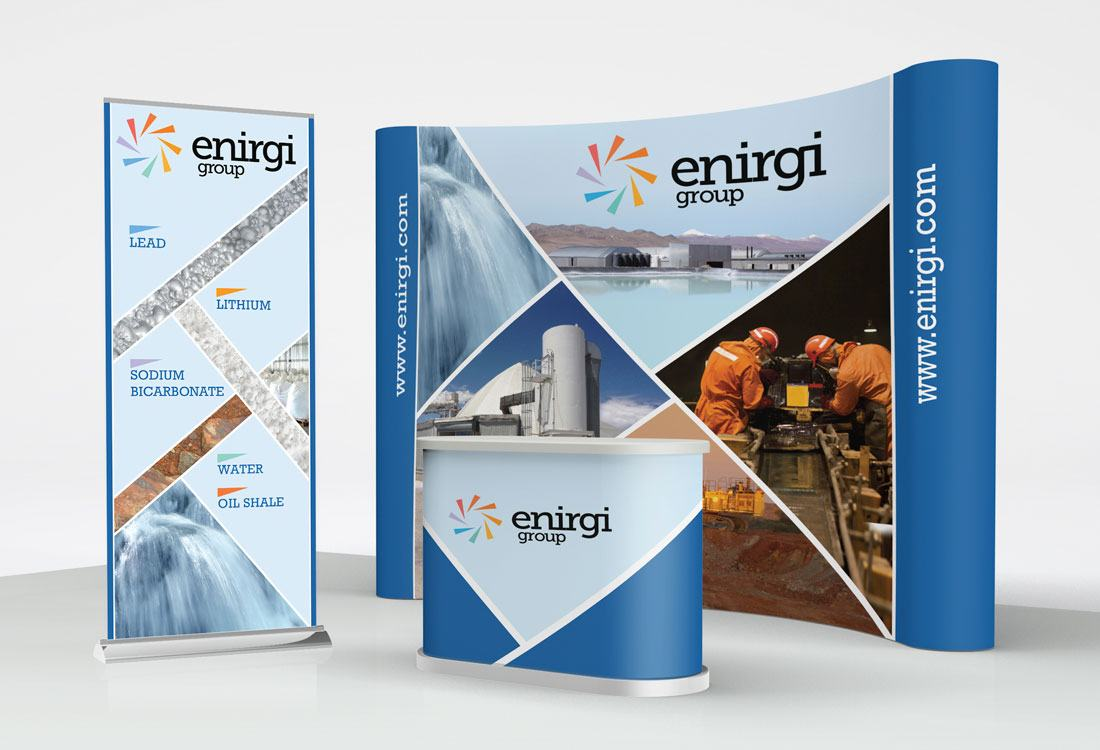 Exhibition Booth Banners : Enirgi group trade show booth banner podium