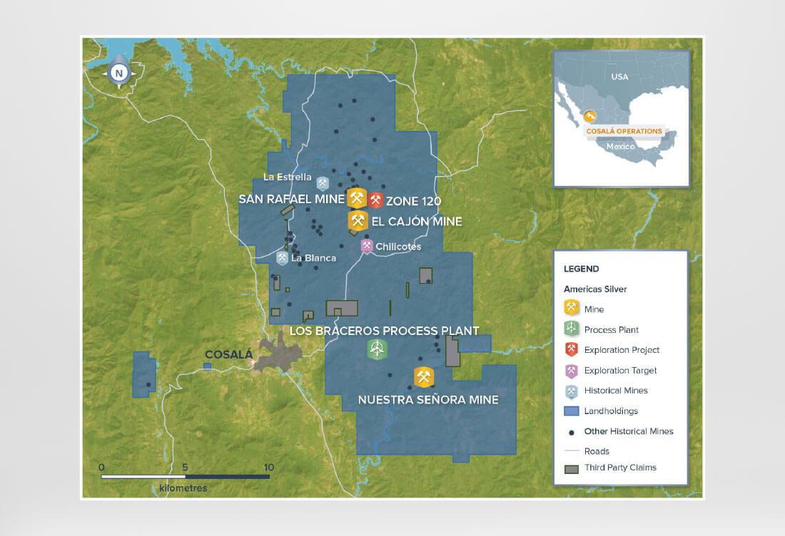 Americas Silver Cosala Operations Map