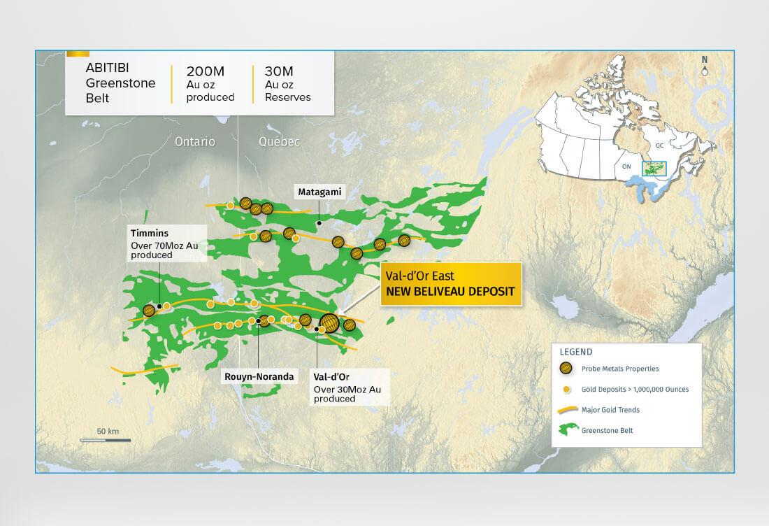Probe Metals New Beliveau Map