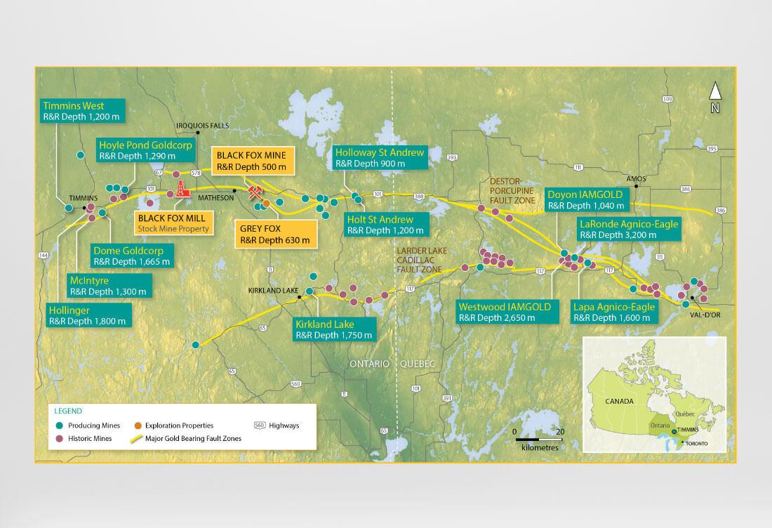 Timmins Mines Map