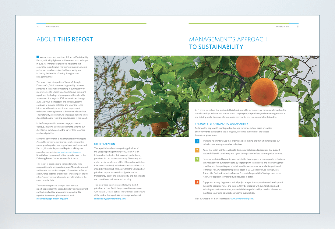 Primero 2015 Sustainability Report Spread 2